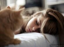 cute-sleeping-girl-cat-watching