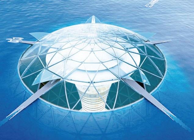 """Ambicingoji struktūra bus padalyta į tris dalis. 500 metrų skersmens plūduriuojančioje sferoje, šiek tiek iškilusioje į jūros paviršių, bus įrengta verslo ir gyvenamoji zona bei viešbučiai. Šią konstrukcijos dalį su vandenyno dugnu (3-4 km gylyje) jungs 15 kilometrų ilgio spiralės formos kelias. Tai ne pirmas kartas, kai šalies statybos pramonės atstovai rimtai galvoja kurti darnias bendruomenes neįprastose vietose. """"Obayashi Corp"""" planavo statyti 100 tūkst. km ilgio kosminį liftą, o ta pati """"Shimizu"""" bendrovė galvojo apie bazės Mėnulyje įkūrimą, viešbutį kosmose ir plaukiojantį botanikos sodą-miestą. """"Shimizu"""" projektas išsiskiria tuo, kad draugiško aplinkai miesto energijos gamybai planuojama panaudoti jūros dugne esančius mikroorganizmus, kurie anglies dvideginį paverčia į metaną. O tuo tarpu elektros generatoriai palei vandenyne plytinčią spiralę išnaudos jūros vandens temperatūra skirtumus ir gamins papildomą energiją. Šis procesas dar žinomas, kaip vandenyno terminės energijos konversija."""