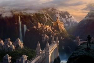 """Pirmasis Šambalos paminėjimas randamas hinduistų tekste – Višnaus Puranoje. Ten (4.24) Šambhala (nuo śambhu – """"laimė, ramybė"""") vadinamas kaimas, kuriame gimsiąs pasaulio išvaduotojas, paskutinioji Višnaus avatara – Kalkis. Į Šambalą panaši yra senosios Tibeto religijos Bon minima karalystė Olmolungringas, ši sąvoka siejama ir su senovine Tibeto valstybe Žangžungu. Visgi, plačiausiai Šambalos sąvoką išplėtoja slaptas tantrinis Tibeto budizmo mokymas – Kalačakra."""