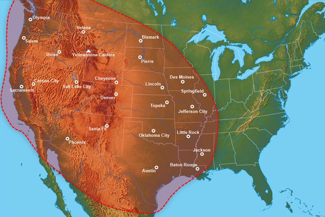 Išsiveržimo metu raudonai pažymėta teritorija būtų nuklota žudančiu pelenų sluoksniu