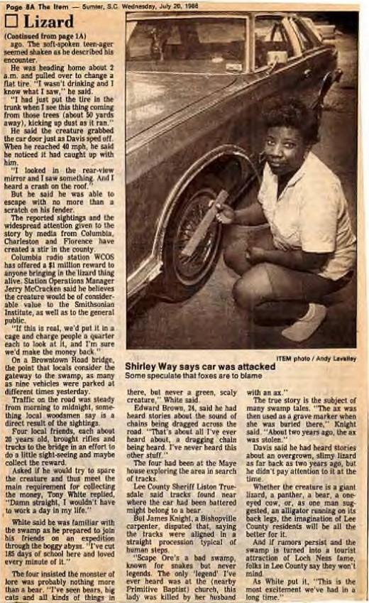1988 metų laikraščiai mirgėjo nuo driežažmogio pranešimų.