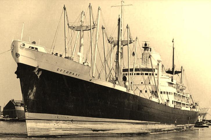 """Taip """"SS Cotopaxi"""" laivas atrodė prieš savo lemtingą kelionę."""
